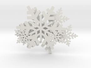Snowflake  in White Natural Versatile Plastic: Small