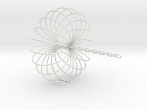 Torus Sculpture pendant 150mm ceiling chain in White Natural Versatile Plastic