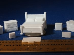 Bedroom with King Bed HO Scale in White Natural Versatile Plastic