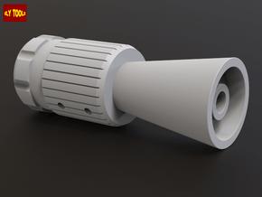 ROTJ Flash Hider (Pro Version CUT barrel) in White Processed Versatile Plastic