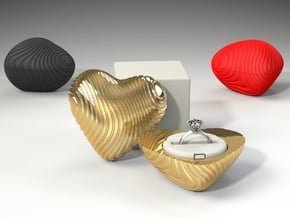Coral Heart Ring Box - Proposal/Engagement RingBox in Red Processed Versatile Plastic
