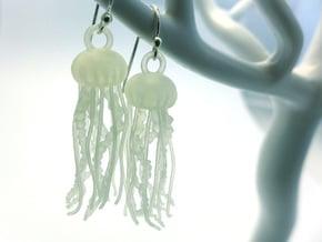 Sea Nettle Jellyfish Earrings in Smooth Fine Detail Plastic