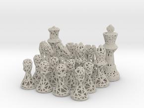 Chess Set Voronoi - Mini in Natural Sandstone