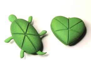 Twin Hearturtles in Green Processed Versatile Plastic