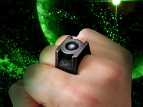 Green Lantern Ring 1.95cm diameter  in Polished and Bronzed Black Steel: 10.25 / 62.125