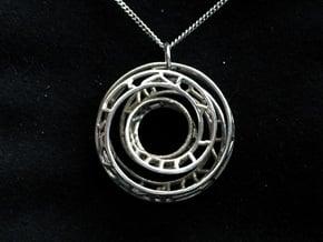 Single Strand Spiral Voronoi Interlocking Pendant in Polished Silver (Interlocking Parts)