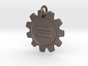 Steampunk Equality pendant in Polished Bronzed Silver Steel
