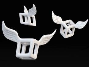 Winged Cube in White Processed Versatile Plastic