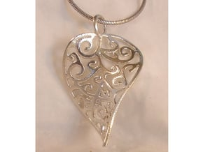 Fine Twisted Leaf Pendant in Polished Silver