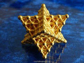 Merkaba Matrix 3 - Star tetrahedron grid in Polished Gold Steel