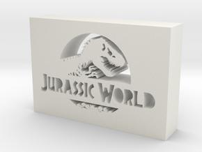 Jurassic World Logo in White Natural Versatile Plastic