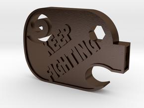 PiggyFight in Polished Bronze Steel