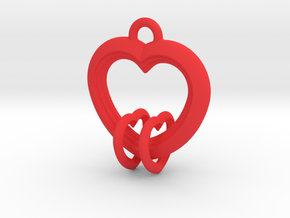 2 Hearts Linked in Love in Red Processed Versatile Plastic