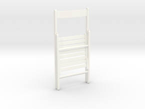 Wooden folding chair, folded, 1:12 in White Processed Versatile Plastic
