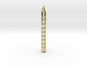 Pen Pendant Circular in 18k Gold Plated Brass