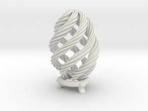 Twisted Easter Egg in White Natural Versatile Plastic