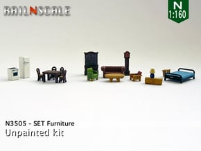Furniture (N 1:160) in Smoothest Fine Detail Plastic