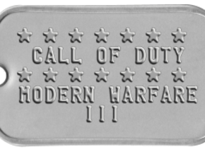 Call of Duty Modern Warfare 3 Dog Tag in White Natural Versatile Plastic