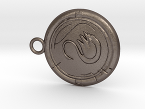 Swan Medallion in Polished Bronzed Silver Steel: Small