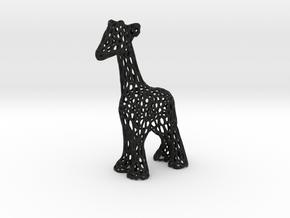 Voronoi Giraffe in Black Natural Versatile Plastic