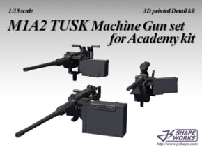 1/16 M1A2 Tusk Machine Gun set in White Natural Versatile Plastic