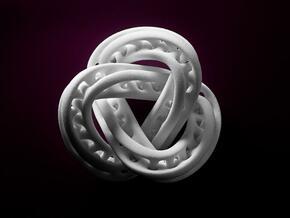 Trefoil Knot Double Moebius0,035.-8cm in White Natural Versatile Plastic