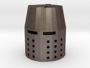 Fingertip Crusader Great Helm in Polished Bronzed Silver Steel