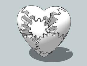 Gear Heart in White Natural Versatile Plastic