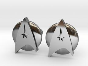 Starfleet Cufflinks in Fine Detail Polished Silver