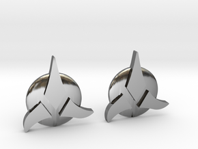 Klingon Cufflinks in Fine Detail Polished Silver