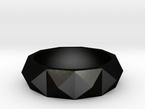studded ring in Matte Black Steel