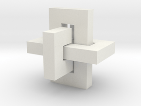 Three links Puzzle in White Natural Versatile Plastic: Extra Small