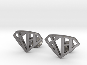XH Cufflinks in Polished Nickel Steel