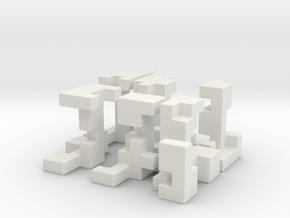Cubed Burr II 6 cm version in White Natural Versatile Plastic