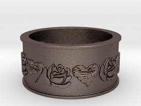 Black Heart Briar Rose  in Polished Bronzed Silver Steel: 10 / 61.5