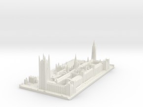 Palace of Westminster / Big Ben Map, London in White Natural Versatile Plastic