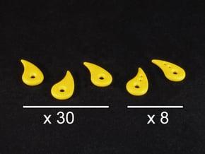 Fatigue tokens (38 pcs) in Yellow Processed Versatile Plastic