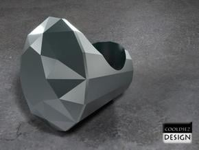 Ring - Big Diamond in Polished Bronzed Silver Steel