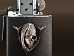 Half skull Ver.2 in Polished Silver