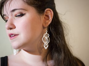 Twisted Drop Earrings  in White Processed Versatile Plastic