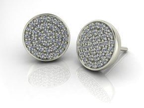 Pave Stud Earrings NO STONES SUPPLIED in Fine Detail Polished Silver