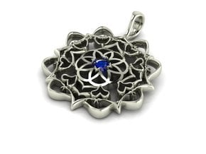 Love focused pendant in Fine Detail Polished Silver