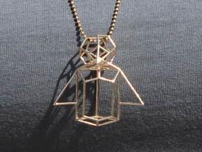 Wireframe Penguin in Natural Bronze (Interlocking Parts)
