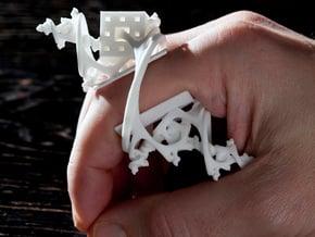 Cosmic Overdose-Fractalic Mystical Finger Ornament in White Natural Versatile Plastic