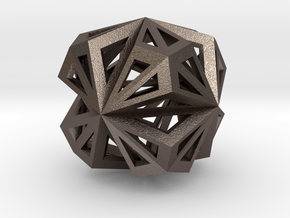 Octahedron in Polished Bronzed Silver Steel