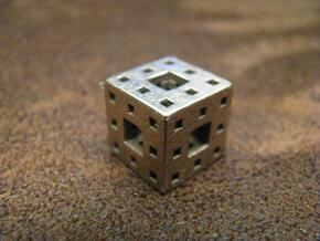 Menger Sponge Pendant in Polished Bronzed Silver Steel