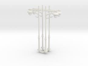 4pcs: N/OO Scale Lamp in White Natural Versatile Plastic: 1:160 - N
