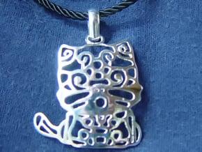 Hello Cat Pendant in Polished Silver (Interlocking Parts)