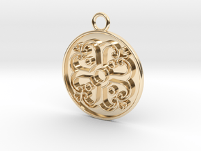 Pendant Swirled Cross in 14k Gold Plated Brass