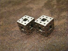 Menger Sponge Earrings in Polished Bronzed Silver Steel